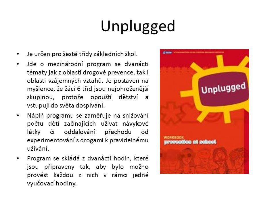 Unplugged Je určen pro šesté třídy základních škol. Jde o mezinárodní program se dvanácti tématy jak z oblasti drogové prevence, tak i oblasti vzájemn