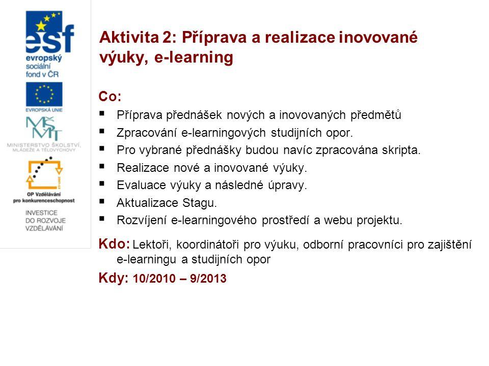 Aktivita 2: Příprava a realizace inovované výuky, e-learning Co:  Příprava přednášek nových a inovovaných předmětů  Zpracování e-learningových studi