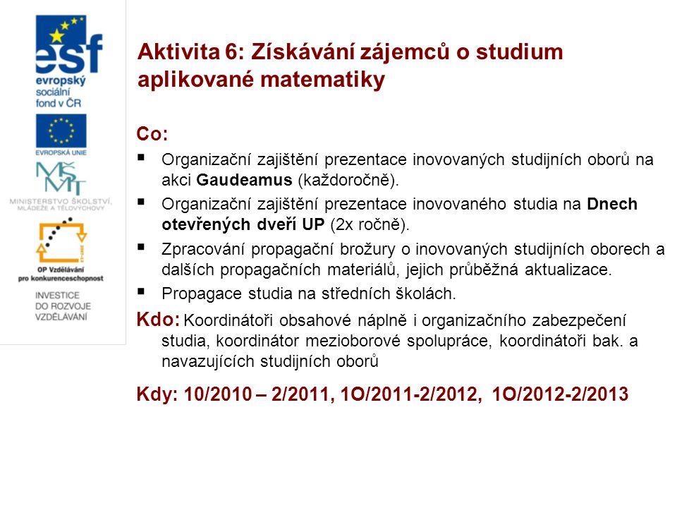 Aktivita 6: Získávání zájemců o studium aplikované matematiky Co:  Organizační zajištění prezentace inovovaných studijních oborů na akci Gaudeamus (každoročně).
