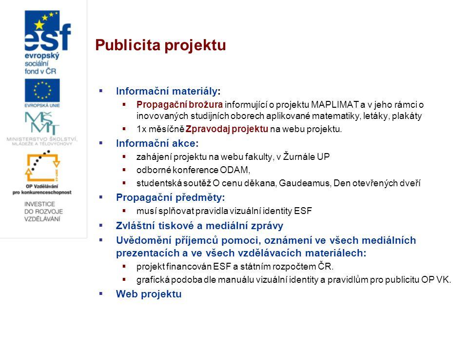 Publicita projektu  Informační materiály:  Propagační brožura informující o projektu MAPLIMAT a v jeho rámci o inovovaných studijních oborech aplikované matematiky, letáky, plakáty  1x měsíčně Zpravodaj projektu na webu projektu.
