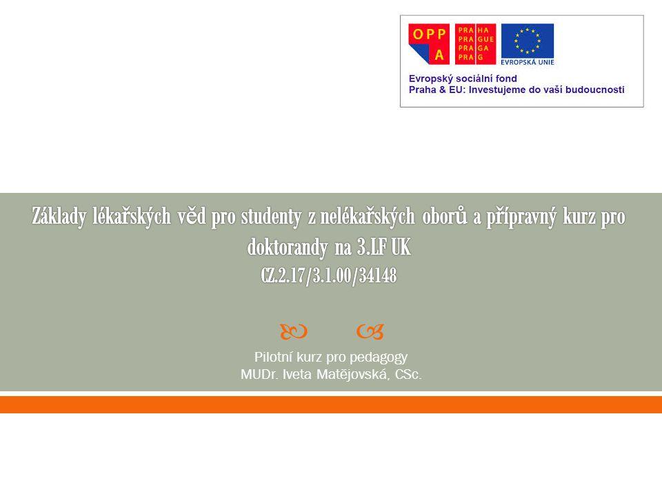  Pilotní kurz pro pedagogy MUDr. Iveta Matějovská, CSc.