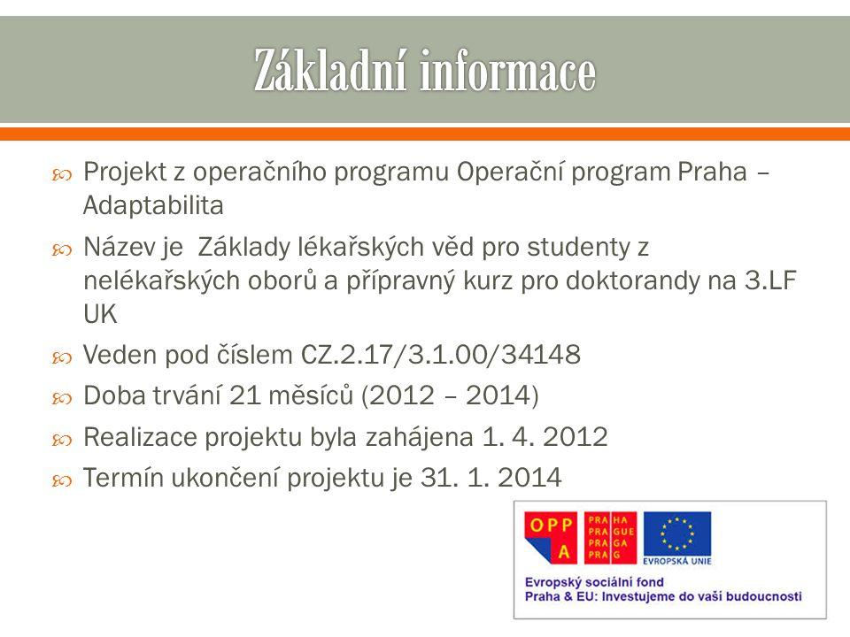  Projekt z operačního programu Operační program Praha – Adaptabilita  Název je Základy lékařských věd pro studenty z nelékařských oborů a přípravný kurz pro doktorandy na 3.LF UK  Veden pod číslem CZ.2.17/3.1.00/34148  Doba trvání 21 měsíců (2012 – 2014)  Realizace projektu byla zahájena 1.