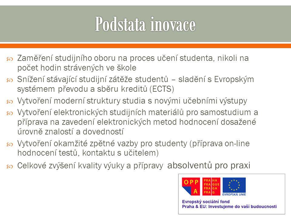  Zaměření studijního oboru na proces učení studenta, nikoli na počet hodin strávených ve škole  Snížení stávající studijní zátěže studentů – sladění s Evropským systémem převodu a sběru kreditů (ECTS)  Vytvoření moderní struktury studia s novými učebními výstupy  Vytvoření elektronických studijních materiálů pro samostudium a příprava na zavedení elektronických metod hodnocení dosažené úrovně znalostí a dovedností  Vytvoření okamžité zpětné vazby pro studenty (příprava on-line hodnocení testů, kontaktu s učitelem)  Celkové zvýšení kvality výuky a přípravy absolventů pro praxi