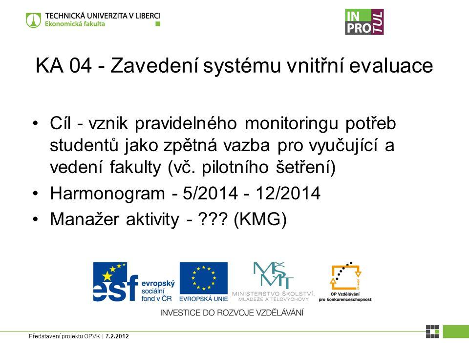 Představení projektu OPVK | 7.2.2012 KA 04 - Zavedení systému vnitřní evaluace Cíl - vznik pravidelného monitoringu potřeb studentů jako zpětná vazba pro vyučující a vedení fakulty (vč.