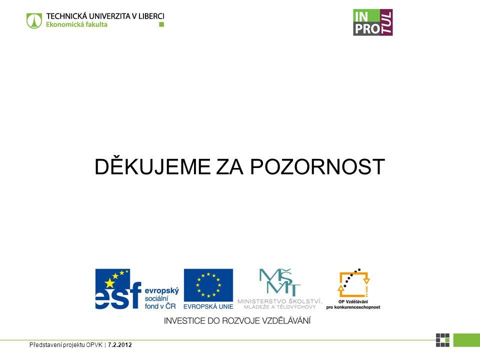 Představení projektu OPVK | 7.2.2012 DĚKUJEME ZA POZORNOST