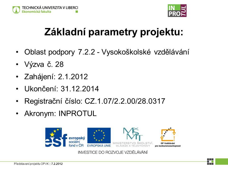 Představení projektu OPVK | 7.2.2012 Základní parametry projektu: Oblast podpory 7.2.2 - Vysokoškolské vzdělávání Výzva č.