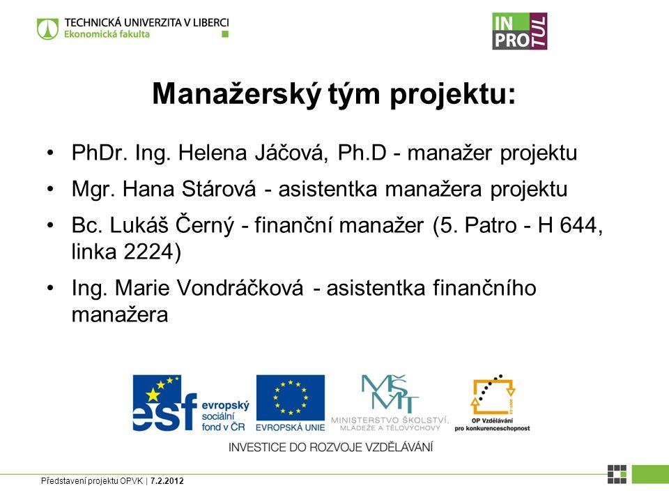 Představení projektu OPVK | 7.2.2012 Manažerský tým projektu: PhDr.