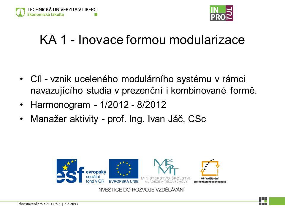 Představení projektu OPVK | 7.2.2012 KA 1 - Inovace formou modularizace Cíl - vznik uceleného modulárního systému v rámci navazujícího studia v prezenční i kombinované formě.