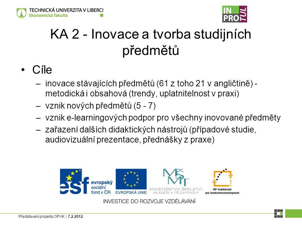 Představení projektu OPVK | 7.2.2012 KA 2 - Inovace a tvorba studijních předmětů Cíle –inovace stávajících předmětů (61 z toho 21 v angličtině) - metodická i obsahová (trendy, uplatnitelnost v praxi) –vznik nových předmětů (5 - 7) –vznik e-learningových podpor pro všechny inovované předměty –zařazení dalších didaktických nástrojů (případové studie, audiovizuální prezentace, přednášky z praxe)