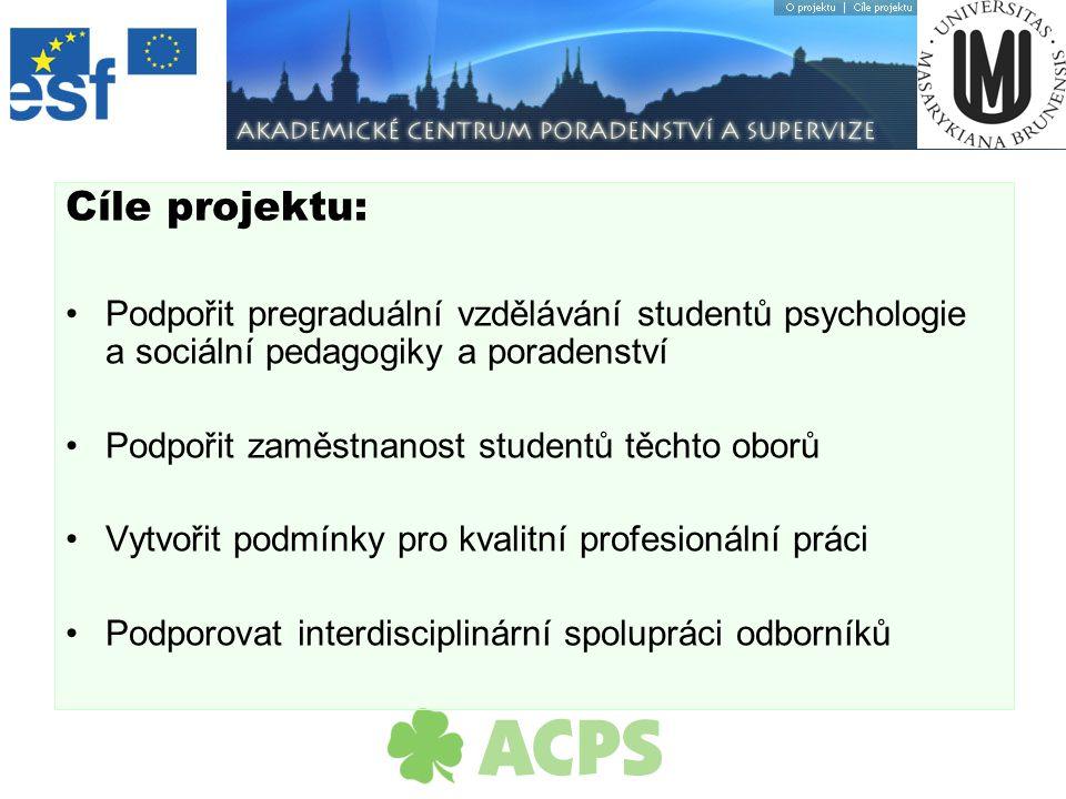 Cíle projektu: Podpořit pregraduální vzdělávání studentů psychologie a sociální pedagogiky a poradenství Podpořit zaměstnanost studentů těchto oborů Vytvořit podmínky pro kvalitní profesionální práci Podporovat interdisciplinární spolupráci odborníků