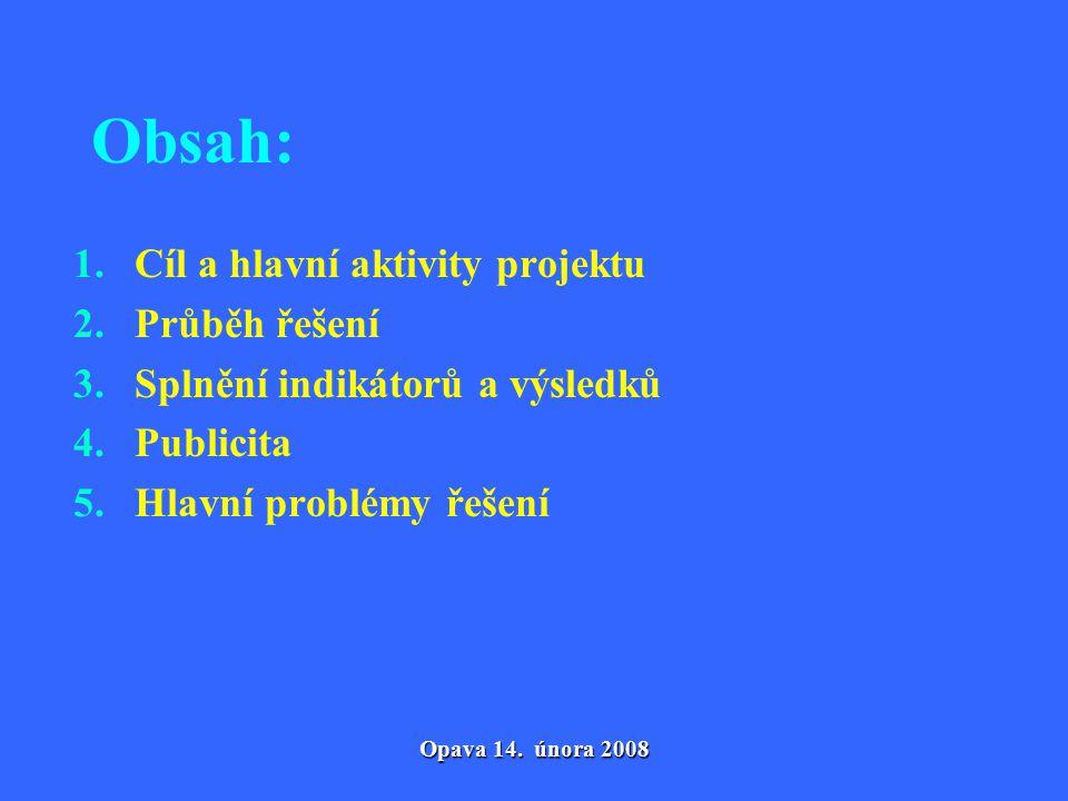 Opava 14. února 2008 Obsah: 1. Cíl a hlavní aktivity projektu 2.