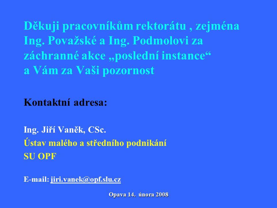 Opava 14. února 2008 Děkuji pracovníkům rektorátu, zejména Ing.