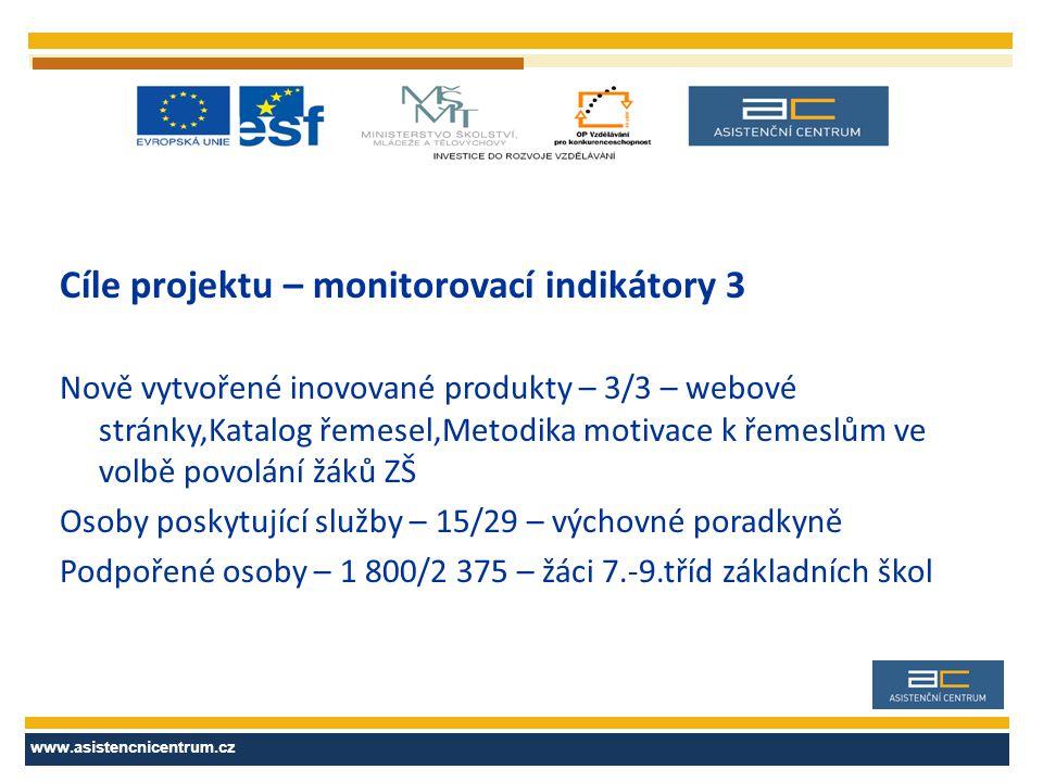 Cíle projektu – monitorovací indikátory 3 Nově vytvořené inovované produkty – 3/3 – webové stránky,Katalog řemesel,Metodika motivace k řemeslům ve vol