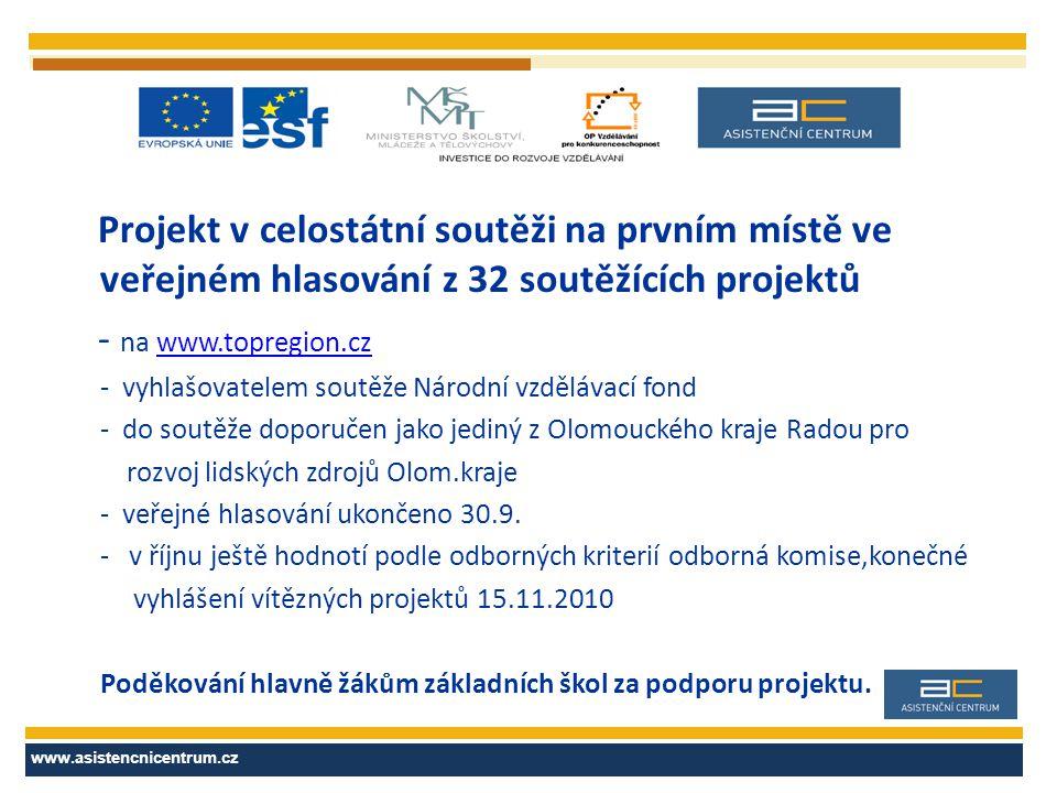 Projekt v celostátní soutěži na prvním místě ve veřejném hlasování z 32 soutěžících projektů - na www.topregion.czwww.topregion.cz - vyhlašovatelem so