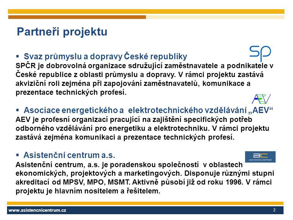 www.asistencnicentrum.cz 2 Partneři projektu  Svaz průmyslu a dopravy České republiky SPČR je dobrovolná organizace sdružující zaměstnavatele a podni