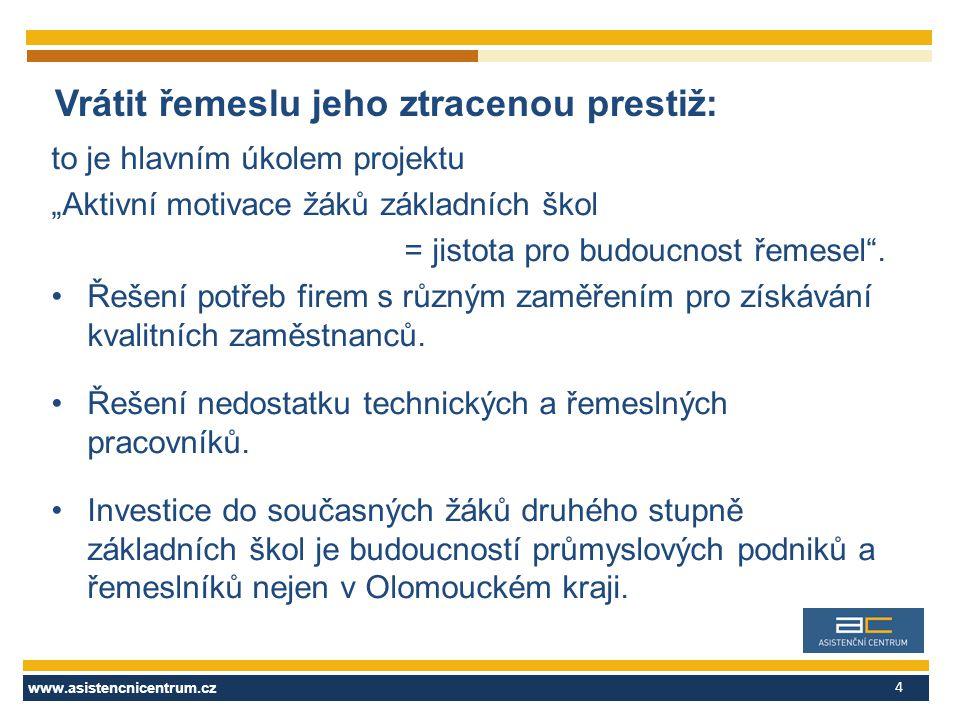 """www.asistencnicentrum.cz 4 Vrátit řemeslu jeho ztracenou prestiž: to je hlavním úkolem projektu """"Aktivní motivace žáků základních škol = jistota pro budoucnost řemesel ."""