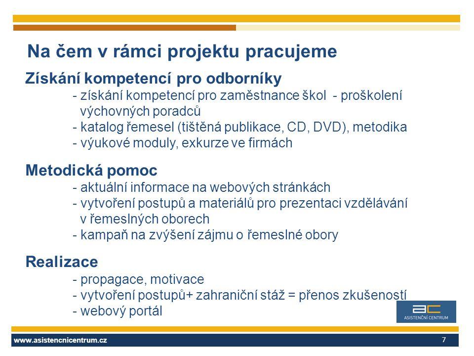 www.asistencnicentrum.cz 7 Na čem v rámci projektu pracujeme Získání kompetencí pro odborníky - získání kompetencí pro zaměstnance škol - proškolení výchovných poradců - katalog řemesel (tištěná publikace, CD, DVD), metodika - výukové moduly, exkurze ve firmách Metodická pomoc - aktuální informace na webových stránkách - vytvoření postupů a materiálů pro prezentaci vzdělávání v řemeslných oborech - kampaň na zvýšení zájmu o řemeslné obory Realizace - propagace, motivace - vytvoření postupů+ zahraniční stáž = přenos zkušeností - webový portál