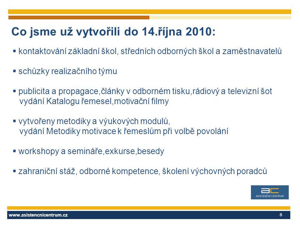 www.asistencnicentrum.cz 8  kontaktování základní škol, středních odborných škol a zaměstnavatelů  schůzky realizačního týmu  publicita a propagace