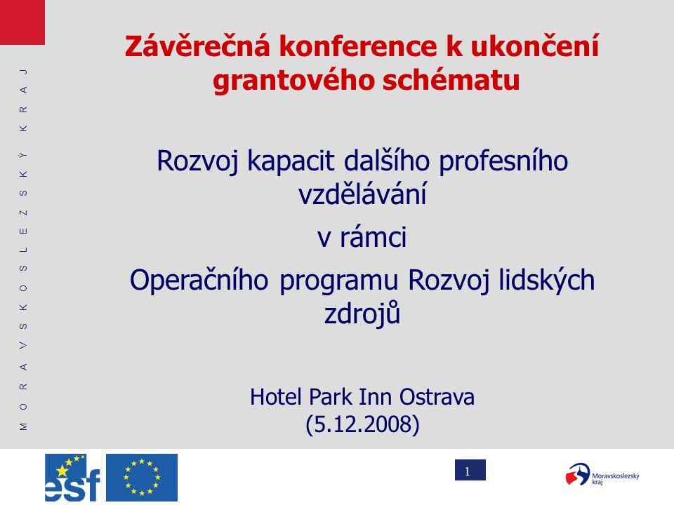 M O R A V S K O S L E Z S K Ý K R A J 1 Závěrečná konference k ukončení grantového schématu Rozvoj kapacit dalšího profesního vzdělávání v rámci Operačního programu Rozvoj lidských zdrojů Hotel Park Inn Ostrava (5.12.2008)