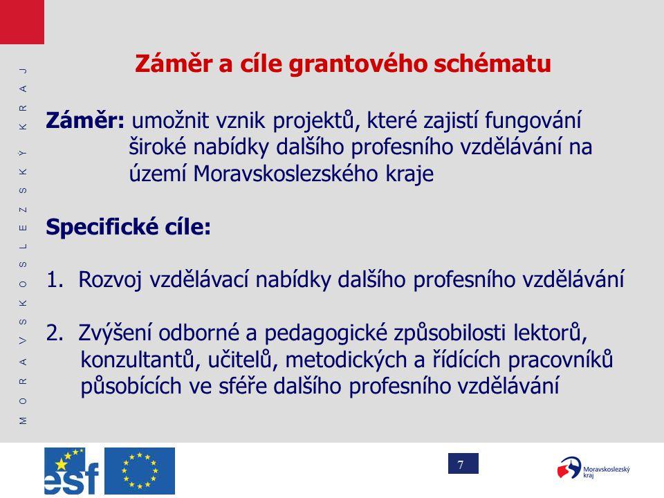 M O R A V S K O S L E Z S K Ý K R A J 7 Záměr a cíle grantového schématu Záměr: umožnit vznik projektů, které zajistí fungování široké nabídky dalšího profesního vzdělávání na území Moravskoslezského kraje Specifické cíle: 1.