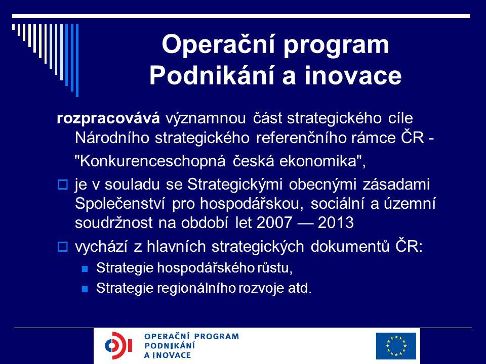 Operační program Podnikání a inovace rozpracovává významnou část strategického cíle Národního strategického referenčního rámce ČR -