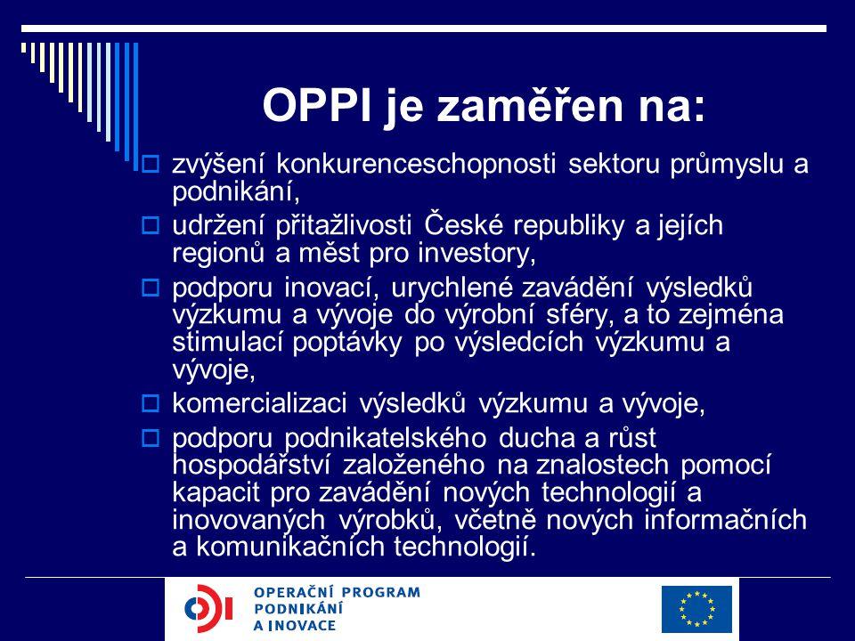 OPPI je zaměřen na:  zvýšení konkurenceschopnosti sektoru průmyslu a podnikání,  udržení přitažlivosti České republiky a jejích regionů a měst pro investory,  podporu inovací, urychlené zavádění výsledků výzkumu a vývoje do výrobní sféry, a to zejména stimulací poptávky po výsledcích výzkumu a vývoje,  komercializaci výsledků výzkumu a vývoje,  podporu podnikatelského ducha a růst hospodářství založeného na znalostech pomocí kapacit pro zavádění nových technologií a inovovaných výrobků, včetně nových informačních a komunikačních technologií.