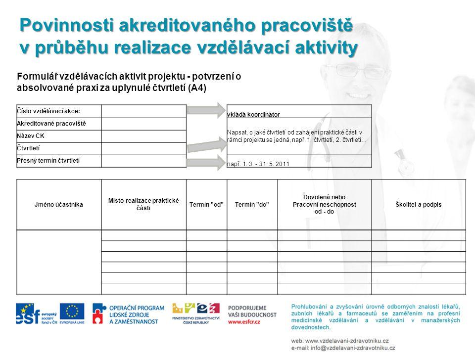 Povinnosti akreditovaného pracoviště v průběhu realizace vzdělávací aktivity Formulář vzdělávacích aktivit projektu - potvrzení o absolvované praxi za