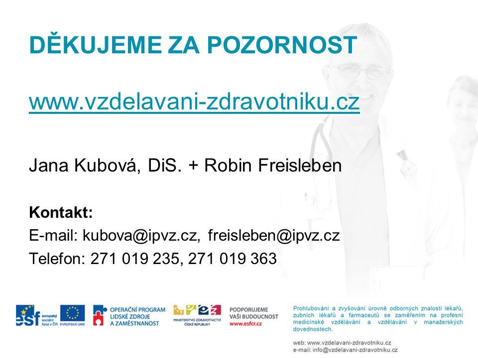 DĚKUJEME ZA POZORNOST www.vzdelavani-zdravotniku.cz Jana Kubová, DiS. + Robin Freisleben Kontakt: E-mail: kubova@ipvz.cz, freisleben@ipvz.cz Telefon: