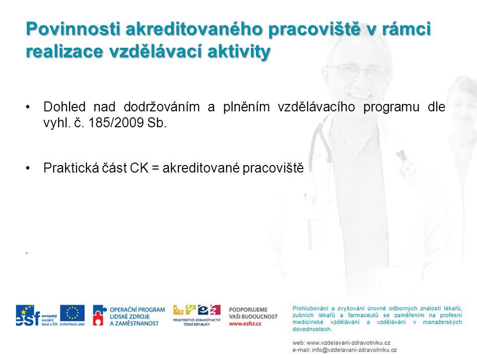 Povinnosti akreditovaného pracoviště v rámci realizace vzdělávací aktivity Dohled nad dodržováním a plněním vzdělávacího programu dle vyhl. č. 185/200