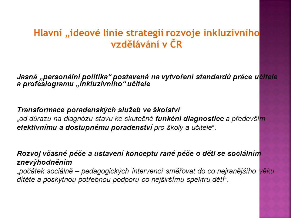 """Hlavní """"ideové linie strategií rozvoje inkluzivního vzdělávání v ČR Jasná """"personální politika"""" postavená na vytvoření standardů práce učitele a profe"""