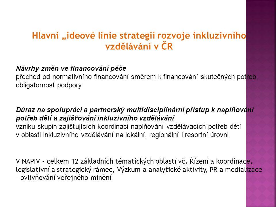 """Hlavní """"ideové linie strategií rozvoje inkluzivního vzdělávání v ČR Návrhy změn ve financování péče přechod od normativního financování směrem k finan"""