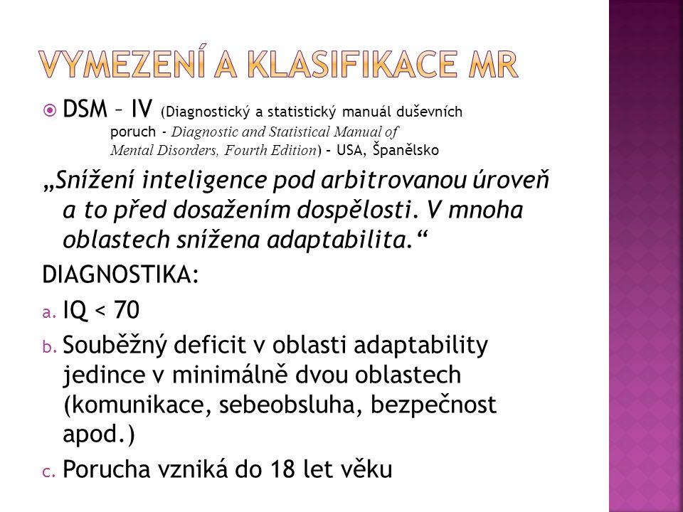  DSM – IV (Diagnostický a statistický manuál duševních poruch - Diagnostic and Statistical Manual of Mental Disorders, Fourth Edition ) – USA, Španěl