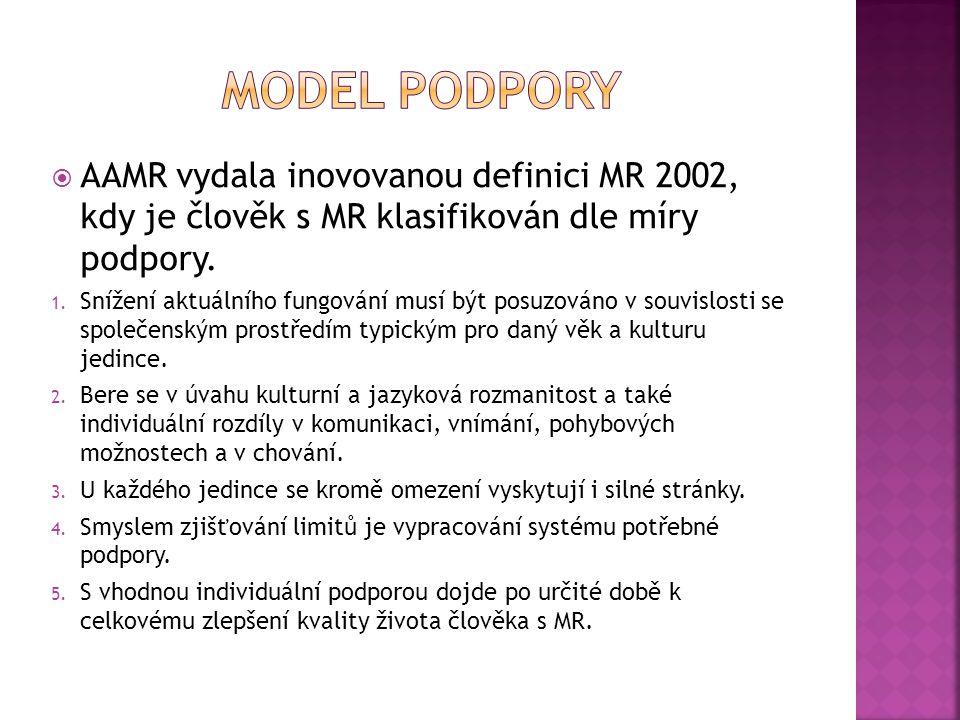  AAMR vydala inovovanou definici MR 2002, kdy je člověk s MR klasifikován dle míry podpory. 1. Snížení aktuálního fungování musí být posuzováno v sou
