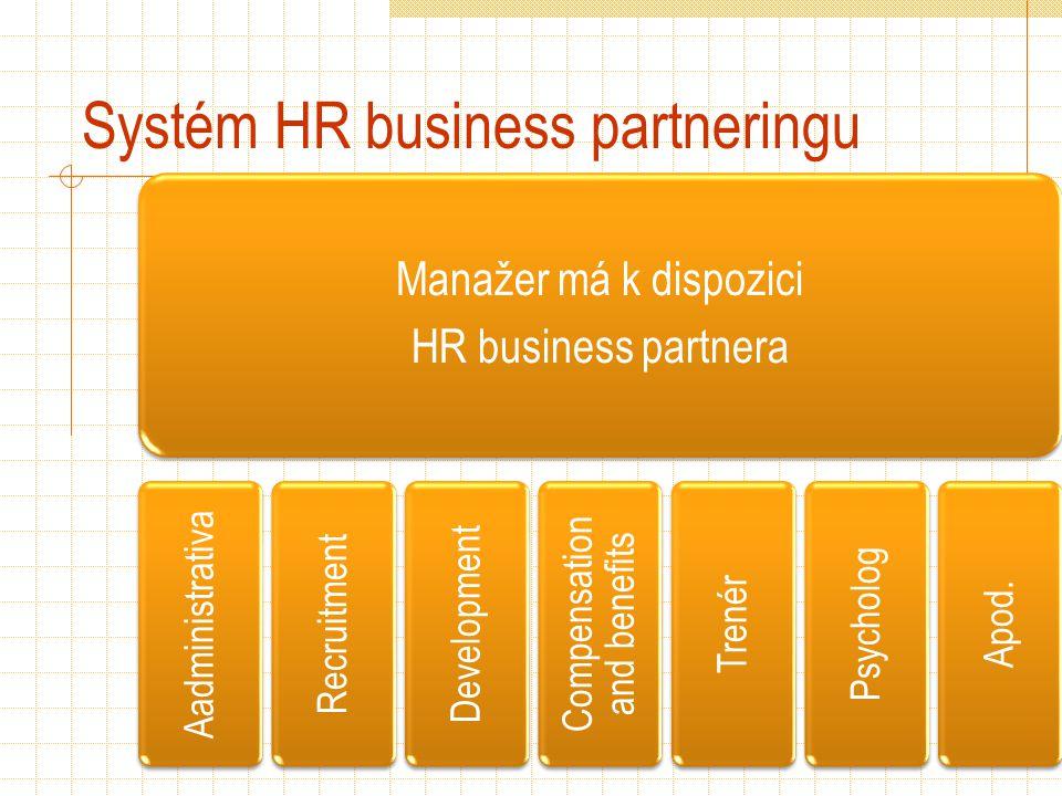 Systém HR business partneringu Manažer má k dispozici HR business partnera Aadministrativa Recruitment Development Compensation and benefits Trenér Psycholog Apod.