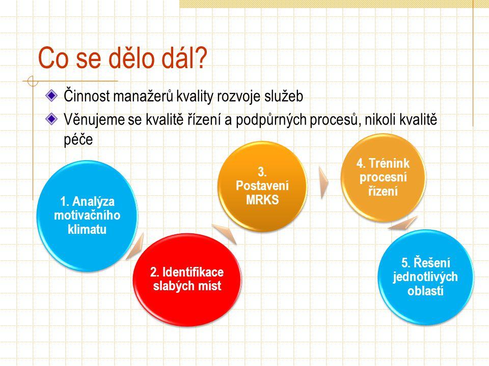 Co se dělo dál? Činnost manažerů kvality rozvoje služeb Věnujeme se kvalitě řízení a podpůrných procesů, nikoli kvalitě péče 1. Analýza motivačního kl