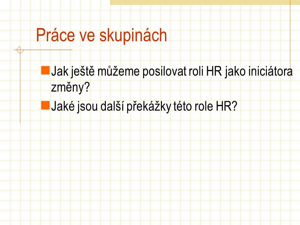 Práce ve skupinách Jak ještě můžeme posilovat roli HR jako iniciátora změny? Jaké jsou další překážky této role HR?