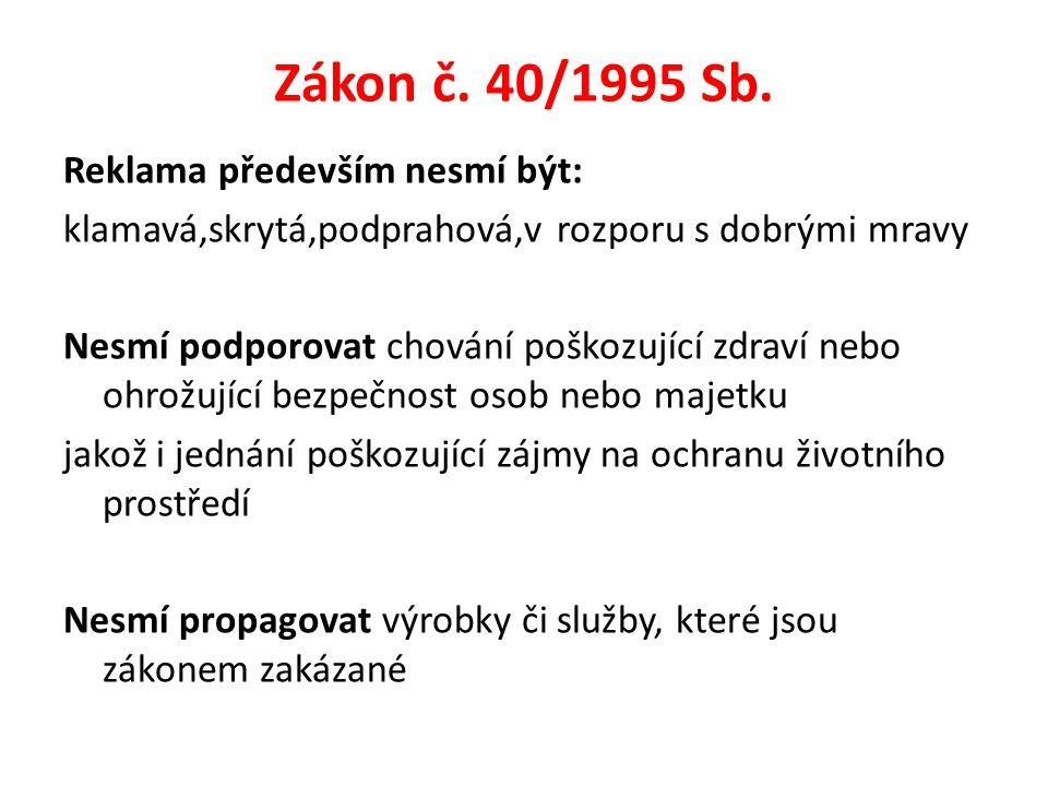 Zákon č. 40/1995 Sb. Reklama především nesmí být: klamavá,skrytá,podprahová,v rozporu s dobrými mravy Nesmí podporovat chování poškozující zdraví nebo