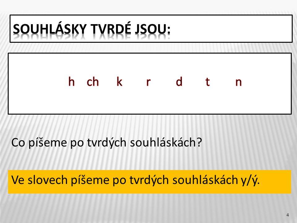 4 Ve slovech píšeme po tvrdých souhláskách y/ý. Co píšeme po tvrdých souhláskách?