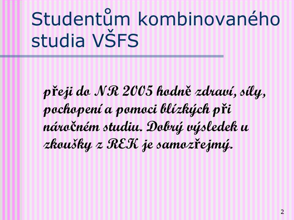 2 Studentům kombinovaného studia VŠFS p ř eji do NR 2005 hodn ě zdraví, síly, pochopení a pomoci blízkých p ř i náro č ném studiu.