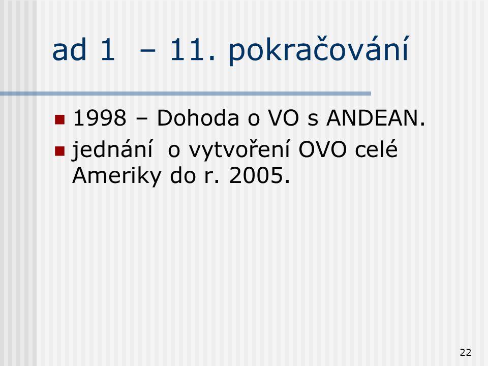 22 ad 1 – 11. pokračování 1998 – Dohoda o VO s ANDEAN.