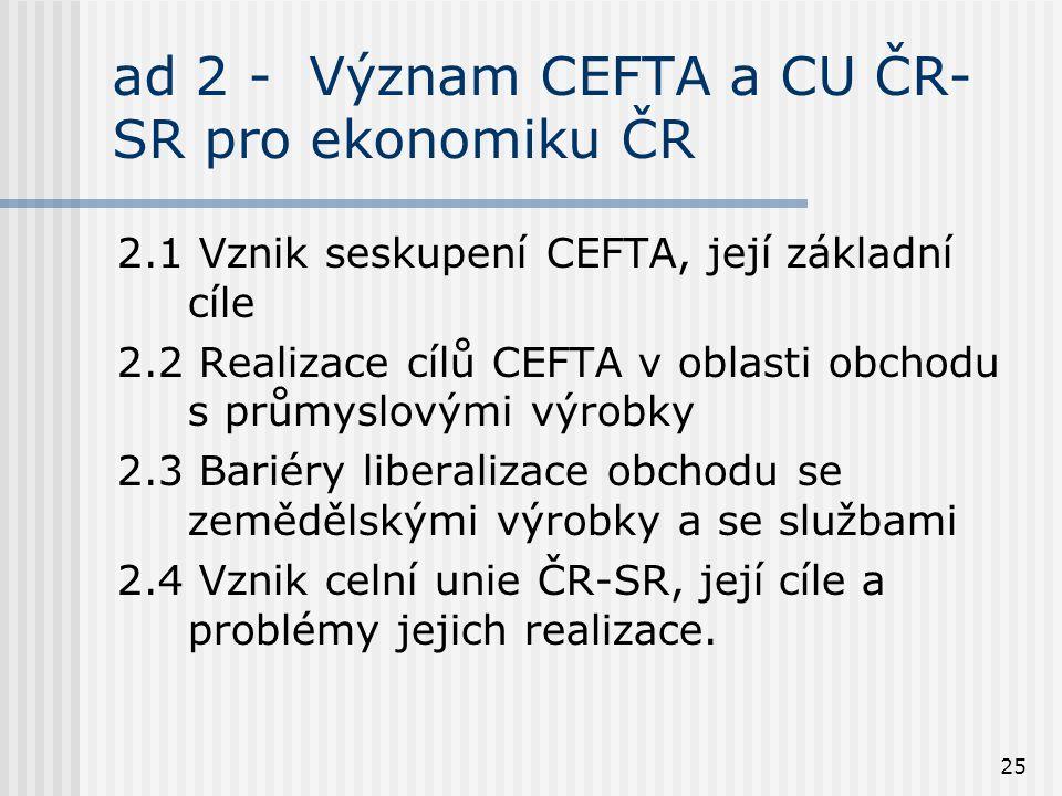 25 ad 2 - Význam CEFTA a CU ČR- SR pro ekonomiku ČR 2.1 Vznik seskupení CEFTA, její základní cíle 2.2 Realizace cílů CEFTA v oblasti obchodu s průmyslovými výrobky 2.3 Bariéry liberalizace obchodu se zemědělskými výrobky a se službami 2.4 Vznik celní unie ČR-SR, její cíle a problémy jejich realizace.