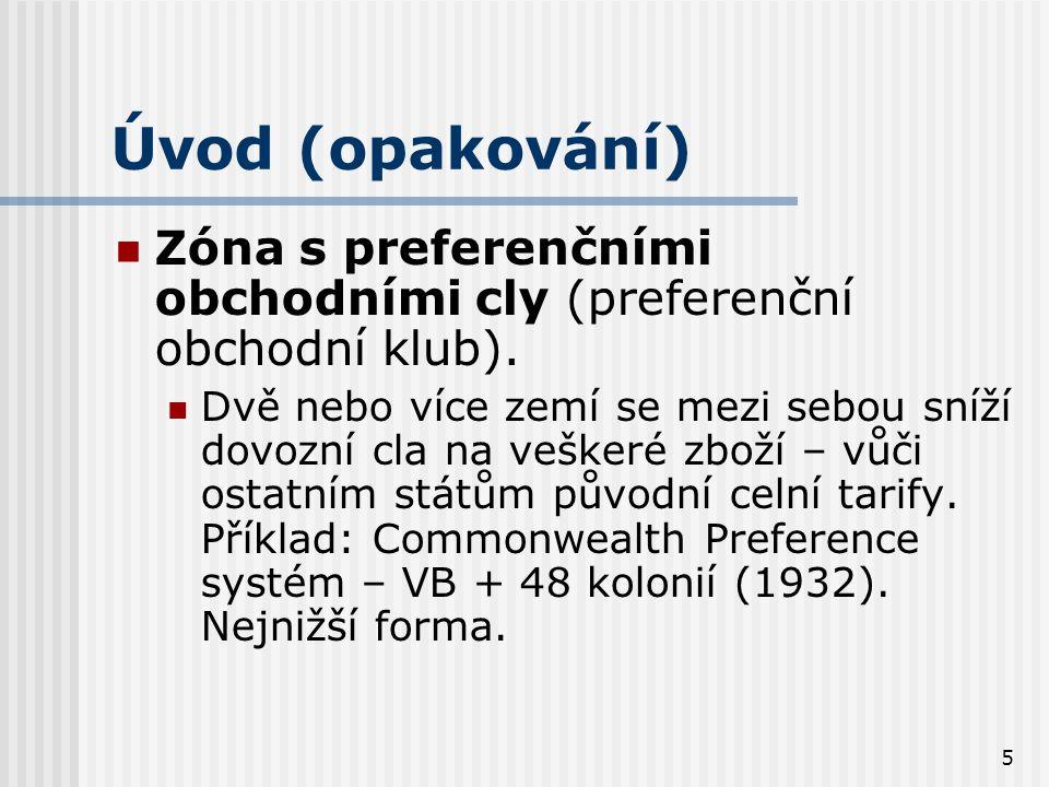5 Úvod (opakování) Zóna s preferenčními obchodními cly (preferenční obchodní klub).