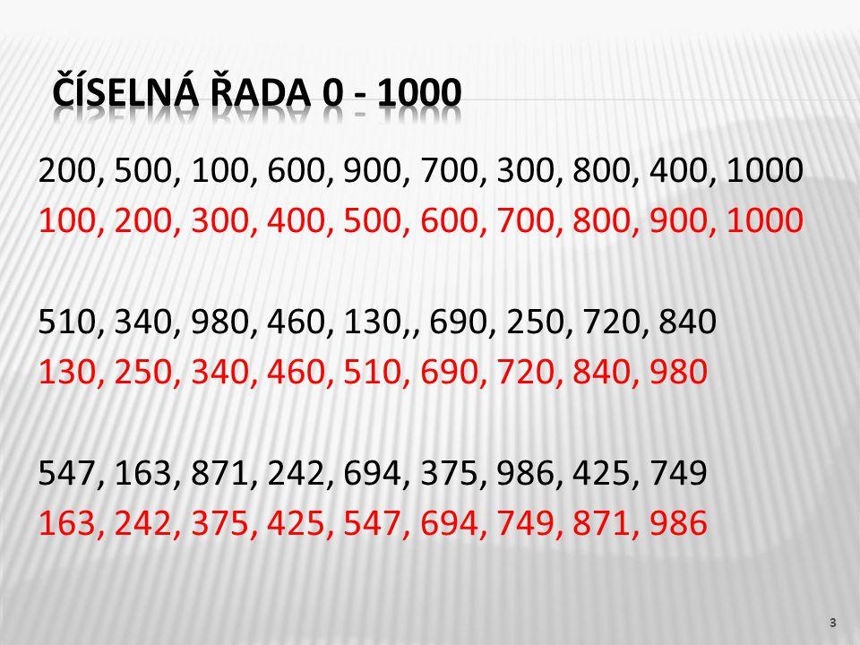 200, 500, 100, 600, 900, 700, 300, 800, 400, 1000 100, 200, 300, 400, 500, 600, 700, 800, 900, 1000 510, 340, 980, 460, 130,, 690, 250, 720, 840 130, 250, 340, 460, 510, 690, 720, 840, 980 547, 163, 871, 242, 694, 375, 986, 425, 749 163, 242, 375, 425, 547, 694, 749, 871, 986 3