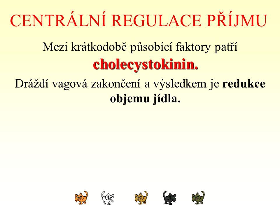 CENTRÁLNÍ REGULACE PŘÍJMU cholecystokinin. Mezi krátkodobě působící faktory patří cholecystokinin. Dráždí vagová zakončení a výsledkem je redukce obje