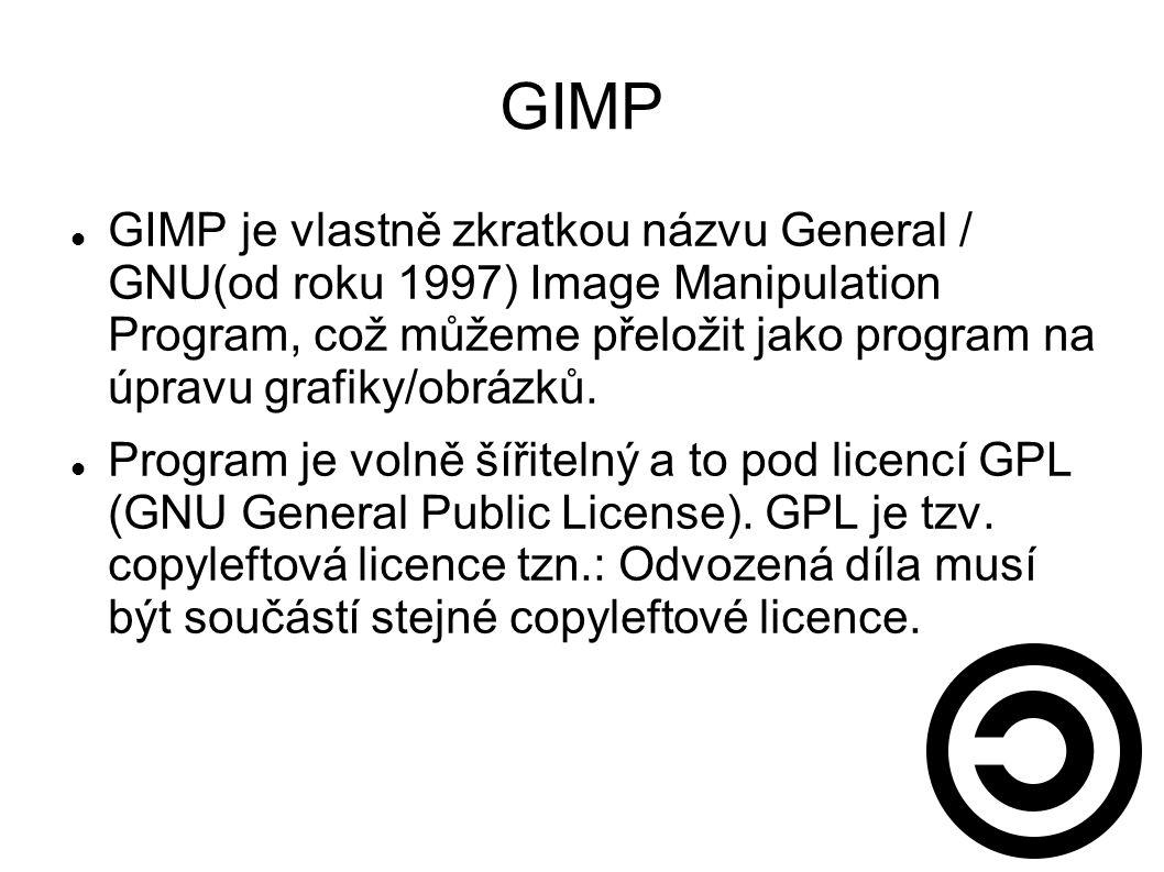 GIMP GIMP je vlastně zkratkou názvu General / GNU(od roku 1997) Image Manipulation Program, což můžeme přeložit jako program na úpravu grafiky/obrázků.
