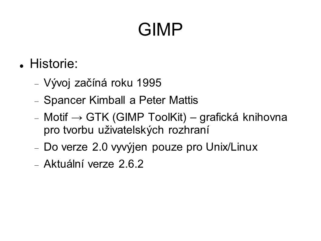 GIMP Historie:  Vývoj začíná roku 1995  Spancer Kimball a Peter Mattis  Motif → GTK (GIMP ToolKit) – grafická knihovna pro tvorbu uživatelských rozhraní  Do verze 2.0 vyvýjen pouze pro Unix/Linux  Aktuální verze 2.6.2