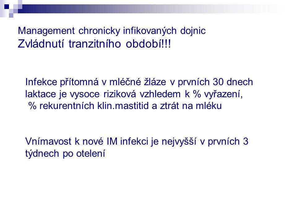 Management chronicky infikovaných dojnic Zvládnutí tranzitního období!!! Infekce přítomná v mléčné žláze v prvních 30 dnech laktace je vysoce riziková