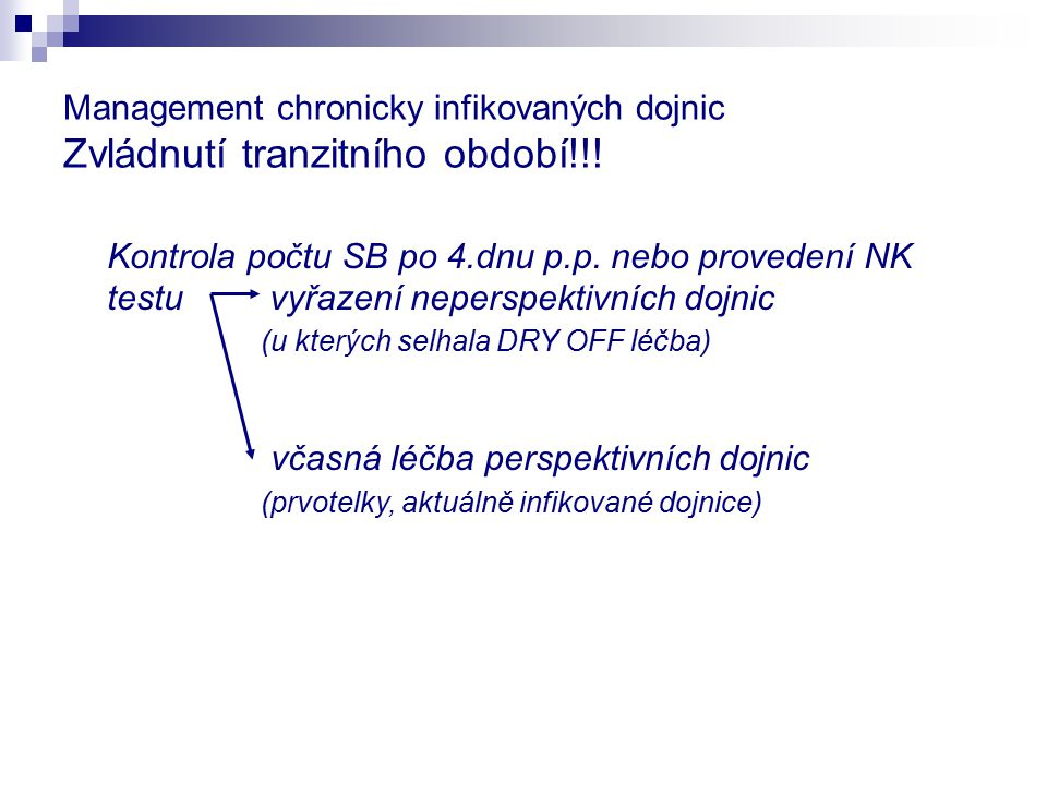 Management chronicky infikovaných dojnic Zvládnutí tranzitního období!!! Kontrola počtu SB po 4.dnu p.p. nebo provedení NK testu vyřazení neperspektiv