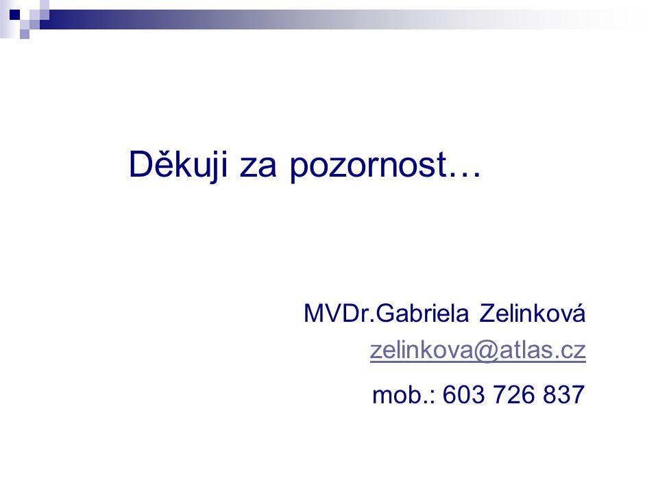 Děkuji za pozornost… MVDr.Gabriela Zelinková zelinkova@atlas.cz mob.: 603 726 837