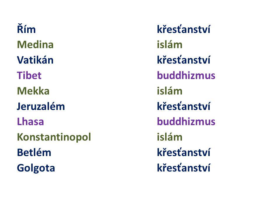 Řím křesťanství Medina islám Vatikán křesťanství Tibet buddhizmus Mekka islám Jeruzalém křesťanství Lhasabuddhizmus Konstantinopol islám Betlém křesťanství Golgota křesťanství